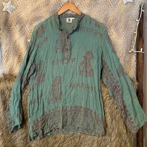 Classic Indian Cotton Printed Long Sleeve Top